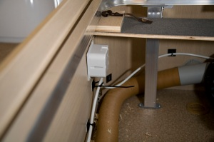 Installing an electric towel rail in a caravan - Inside the bed box - the backing box and cables