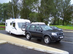 Stopping at Rivington Pike services for a coffee. All 38 foot 6 inches of outfit fitted lengthwise.....