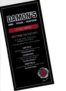 Damon's takeout menu