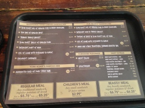The menu from The York Roast Co