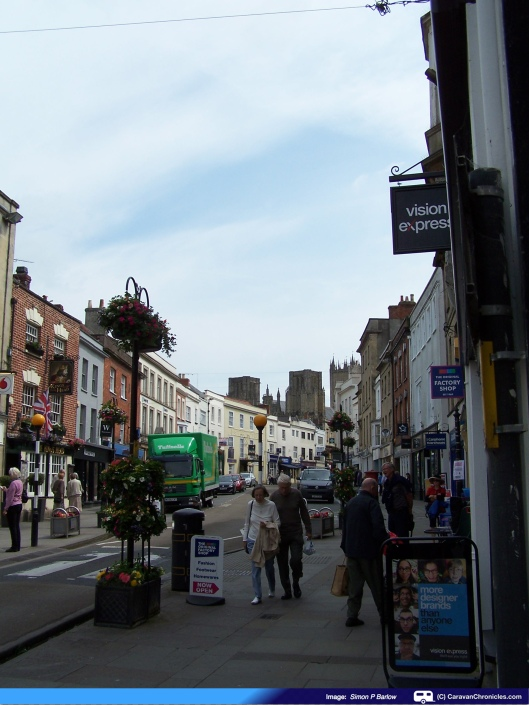 The main shopping street looking towards the Cathedral.