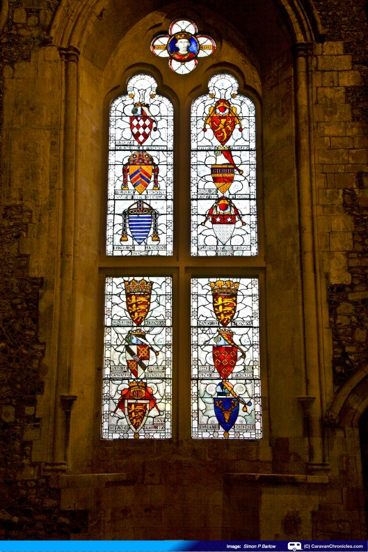 One of the well preserved stained glass windows