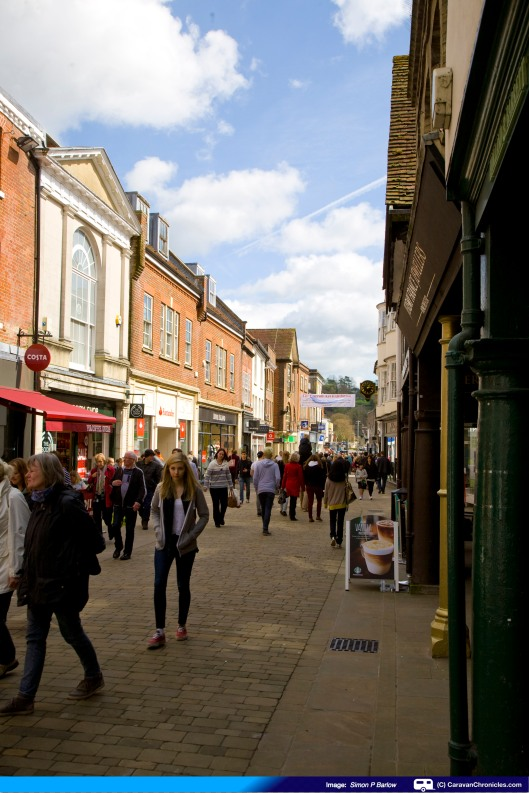 High Street busy with shoppers taking advantage of the sunshine