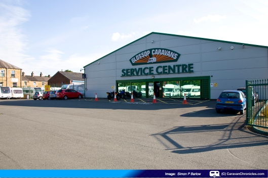 Glossop Caravan's service centre on the A57