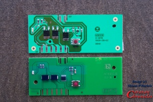 The old circuit board top, with the new one below.